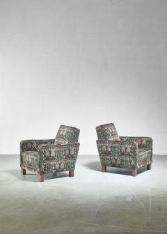 Bjorn Tragardh Bj rn Tr g rdh pair of club chairs with original Art Nouveau upholstery 1930s - 893997
