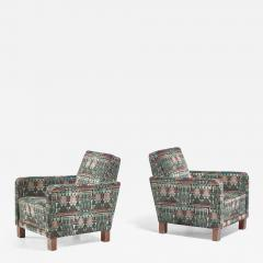 Bjorn Tragardh Bj rn Tr g rdh pair of club chairs with original Art Nouveau upholstery 1930s - 895234