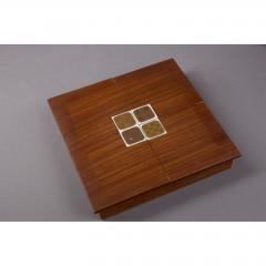 Bjorn Wiinblad Rosenthal Rosewood Box with Bjorn Windblad Porcelain Tiles 1960s - 354321