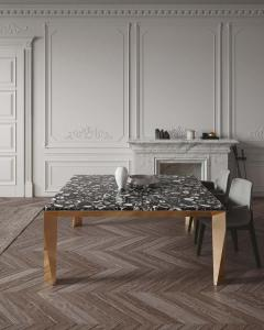 Black Agate Grand Architechtonic Dining Table Hand Sculpted by Element Co - 1784063