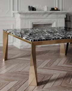 Black Agate Grand Architechtonic Dining Table Hand Sculpted by Element Co - 1784064