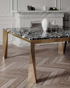 Black Agate Grand Architechtonic Dining Table Hand Sculpted by Element Co - 1784067