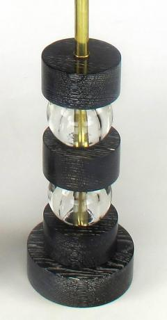 Black Cerused Oak and Crystal Ball Segmented Table Lamps - 232421