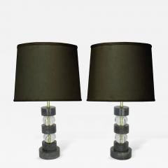 Black Cerused Oak and Crystal Ball Segmented Table Lamps - 233167