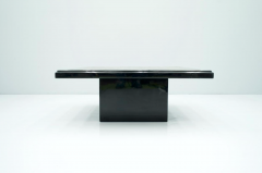 Black Coffee Table with Horn Inlays France 1970s - 1841683