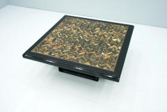 Black Coffee Table with Horn Inlays France 1970s - 1841687