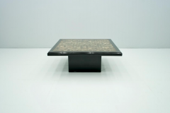 Black Coffee Table with Horn Inlays France 1970s - 1841692