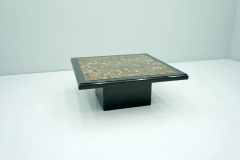 Black Coffee Table with Horn Inlays France 1970s - 1841693