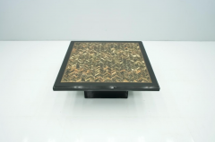 Black Coffee Table with Horn Inlays France 1970s - 1841699