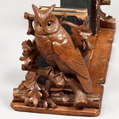 Black Forest Adjustable Book Rack with Carved Owls - 684742