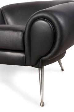 Black Leather Midcentury Style Lounge Chair by Lost City Arts - 787345