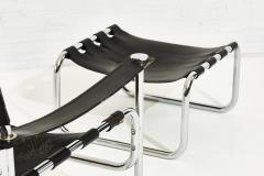 Black Leather Sling Chair and Ottoman 1970 - 2055627