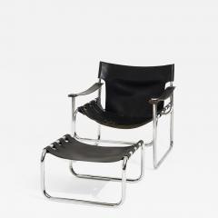 Black Leather Sling Chair and Ottoman 1970 - 2059876