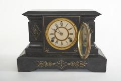 Black Marble Gilt Ansonian Mantel Desk Clock - 2107454
