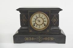 Black Marble Gilt Ansonian Mantel Desk Clock - 2107463