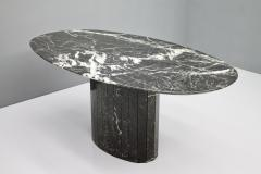 Black Oval Marble Dining Table Italy 1970s - 1135650