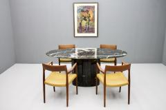 Black Oval Marble Dining Table Italy 1970s - 1135651