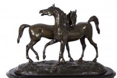 Black Slate Marble Mantel Clock with Equestrian Sculpture Group - 1027724