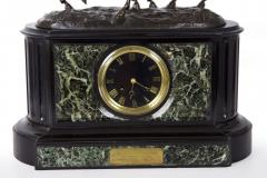 Black Slate Marble Mantel Clock with Equestrian Sculpture Group - 1027725