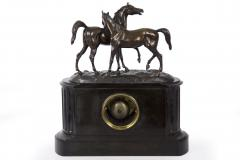 Black Slate Marble Mantel Clock with Equestrian Sculpture Group - 1027726