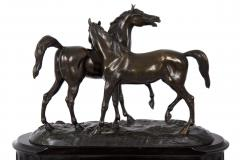 Black Slate Marble Mantel Clock with Equestrian Sculpture Group - 1027728
