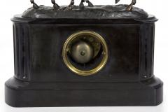 Black Slate Marble Mantel Clock with Equestrian Sculpture Group - 1027730