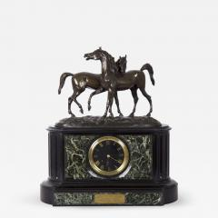 Black Slate Marble Mantel Clock with Equestrian Sculpture Group - 1029149
