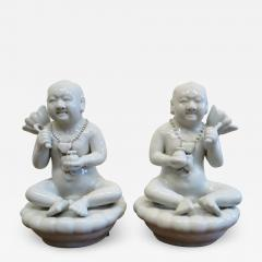 Blanc De Chine Porcelain Pair of Chinese Figures - 2047263
