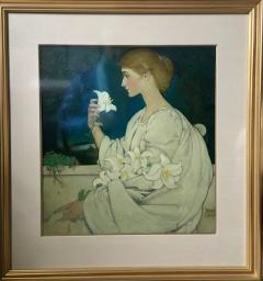 Blendon Reed Campbell Art Nouveau Beauty with Lilies - 1579634