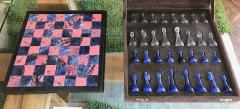 Blu Marble and Art Glass Chess Game Set Italy ca 1970s - 1128180