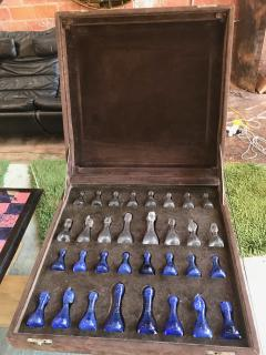 Blu Marble and Art Glass Chess Game Set Italy ca 1970s - 1128184