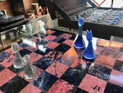 Blu Marble and Art Glass Chess Game Set Italy ca 1970s - 1128187