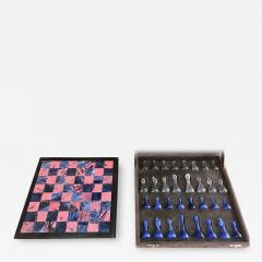 Blu Marble and Art Glass Chess Game Set Italy ca 1970s - 1129078