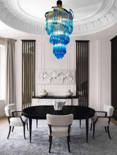 Blue Heavenly Murano Prism Chandelier with Golden Frame circa 2000 - 1567751