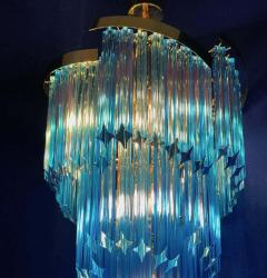 Blue Heavenly Murano Prism Chandelier with Golden Frame circa 2000 - 1567752