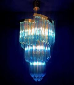 Blue Heavenly Murano Prism Chandelier with Golden Frame circa 2000 - 1567753