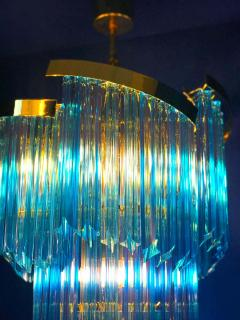 Blue Heavenly Murano Prism Chandelier with Golden Frame circa 2000 - 1567759