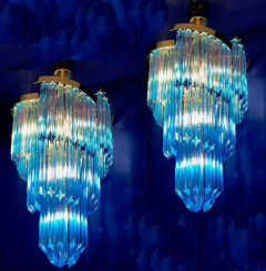 Blue Heavenly Murano Prism Chandelier with Golden Frame circa 2000 - 1567765