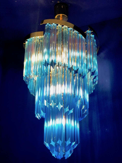 Blue Heavenly Murano Prism Chandelier with Golden Frame circa 2000 - 1567769