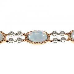 Blue Topaz Mother of Pear Diamond Gold Bracelet - 389408