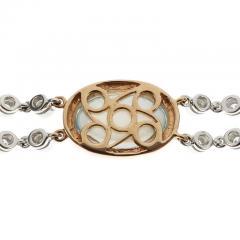 Blue Topaz Mother of Pear Diamond Gold Bracelet - 389410