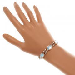 Blue Topaz Mother of Pear Diamond Gold Bracelet - 389413