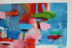 Blue and White Abstract with Multicolored Brushstrokes by Thomas Gathman - 1102367