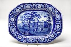 Blue and White Beauties of America Meat Platter with the United States Capitol - 1898927