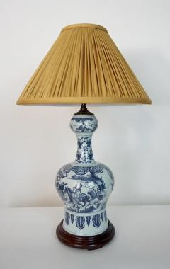 Blue and White Dutch Delft Garlic Neck Vase now Table Lamp - 1533471