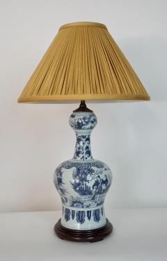 Blue and White Dutch Delft Garlic Neck Vase now Table Lamp - 1533472