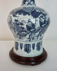 Blue and White Dutch Delft Garlic Neck Vase now Table Lamp - 1533474