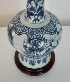 Blue and White Dutch Delft Garlic Neck Vase now Table Lamp - 1533475