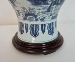 Blue and White Dutch Delft Garlic Neck Vase now Table Lamp - 1533476