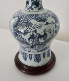Blue and White Dutch Delft Garlic Neck Vase now Table Lamp - 1533477